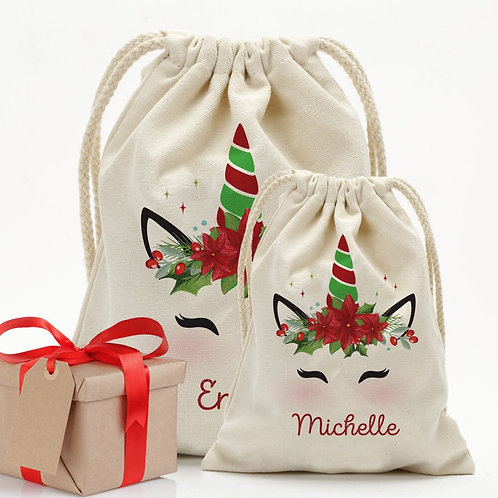 Custom Christmas Poinsettia Unicorn Drawstring Sack for Kids | Personalized Sant