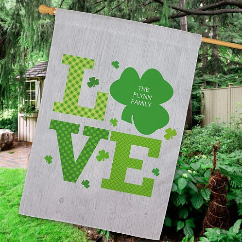 Personalized Shamrock Love House Flag