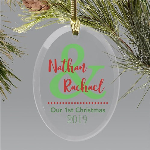 Personalized Couples Glass Ornament