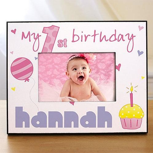 Baby Girl's 1st Birthday Printed Frame