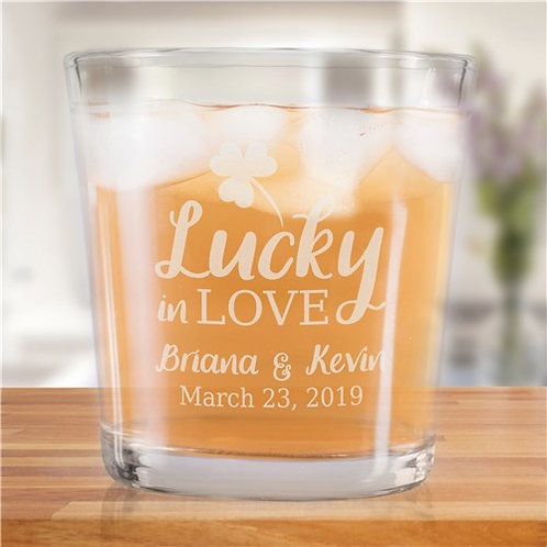 Personalized Lucky In Love Rocks Glass
