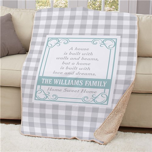 Personalized A House is Built Sherpa Blanket