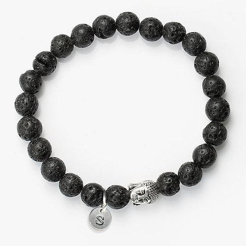 Custom Natural Stone Lava Healing Bracelet With Antique Buddha Head