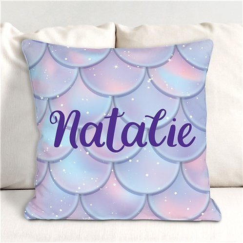Personalized Mermaid Scales Throw Pillow