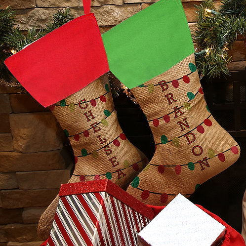 Custom Linen String Colored Lights Christmas Stocking