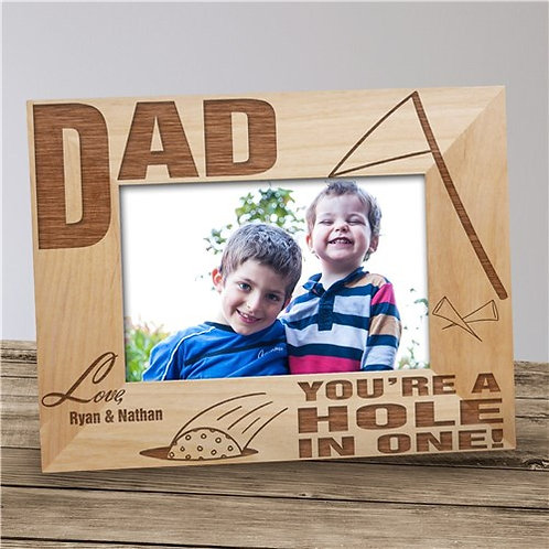 "Personalized ""A Hole In One"" Golf Wood Picture Frame"