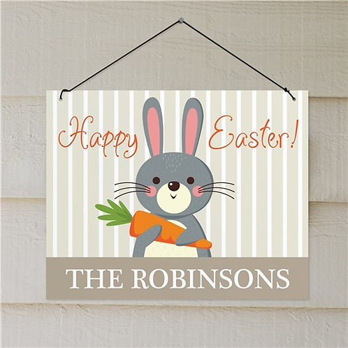 Personalized Bunny Holding Carrot Easter Wall Sign