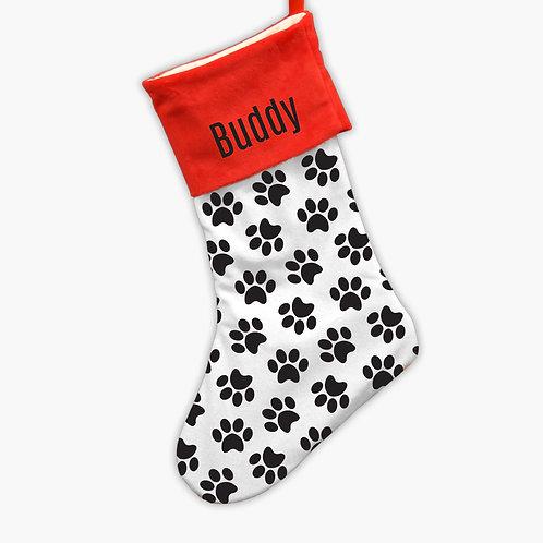 Custom Red Top Paw Print Christmas Stocking