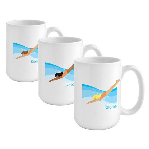 Personalized Go Girl SWIMMER Coffee Mug