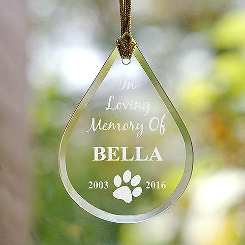 Engraved Pet Memorial Tear Drop Ornament