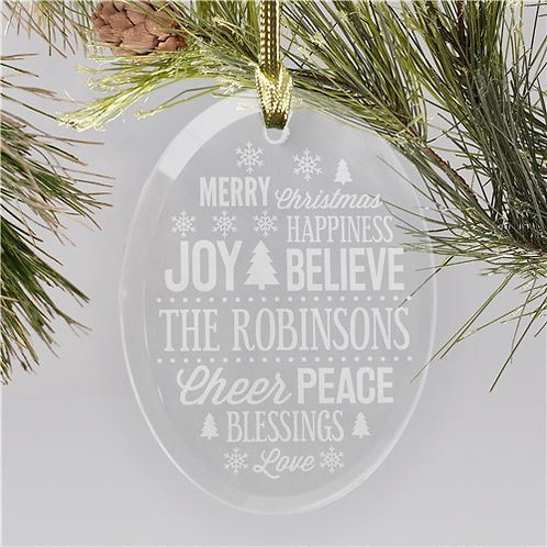 Personalized Christmas Word Art Oval Glass Ornament