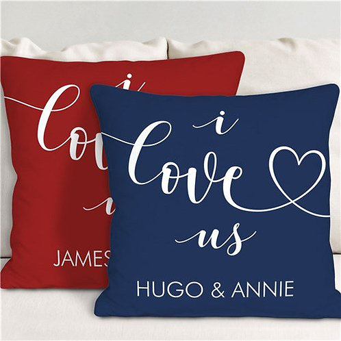 Personalized I Love Us Heart Throw Pillow