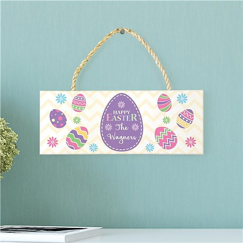 Personalized Happy Easter Rope Hanging Sign