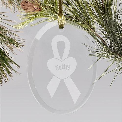 Breast Cancer Awareness Glass Christmas Ornament