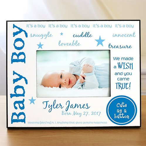 We Made A Wish - New Baby Personalized Printed Frame