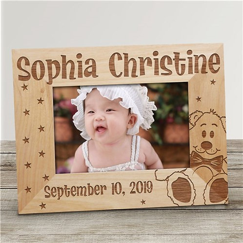 New Baby Engraved Teddy Bear Stars Wood Picture Frame