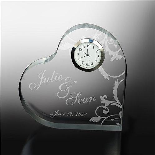 Engraved Couples Heart Clock Keepsake