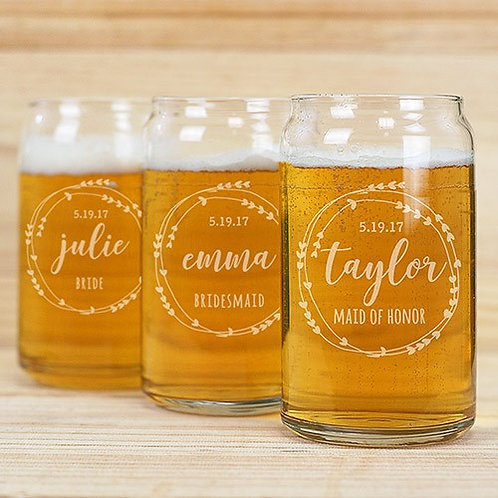 Bridal Party Beer Can Glass