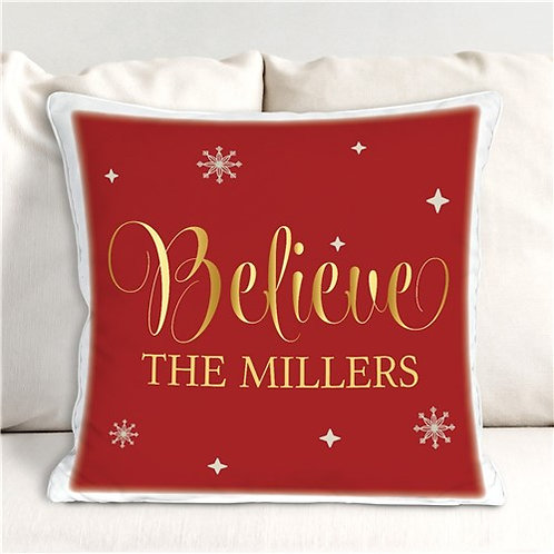 Personalized Believe Throw Pillow