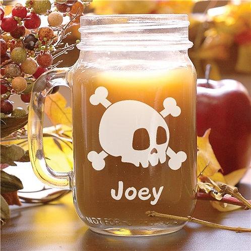 Engraved Halloween Skull Mason Jar