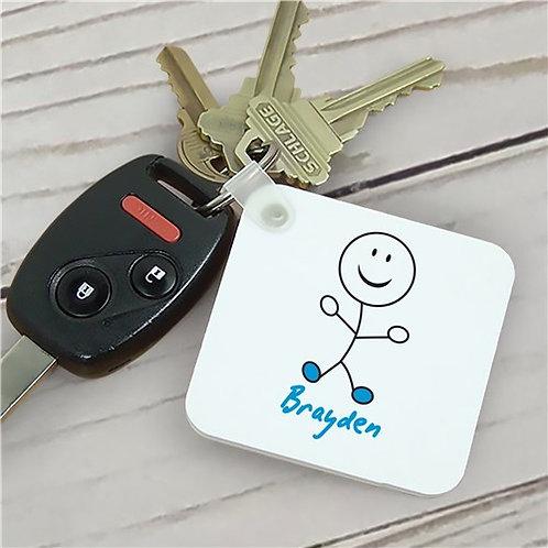 Personalized Stick Figure Key Chain