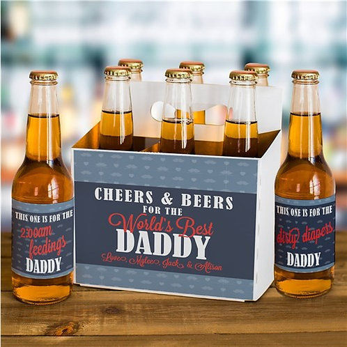 Personalized Cheers and Beers Labels and Carrier Set