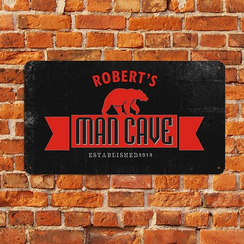 Personalized Man Cave Bear Sign