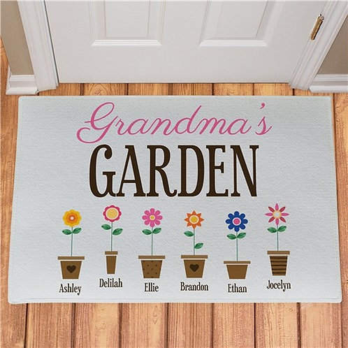 Personalized Grandma's Garden Flower Pots Doormat