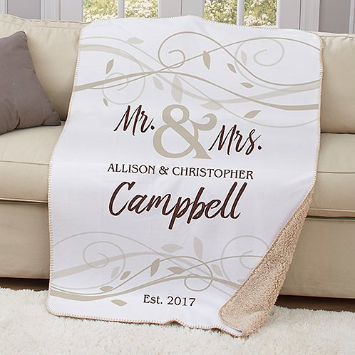 Personalized Mr & Mrs Wedding Sherpa Throw