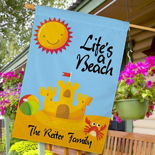 Personalized Life's A Beach House Flag
