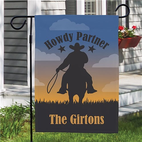 Personalized Cowboy Welcome Garden Flag