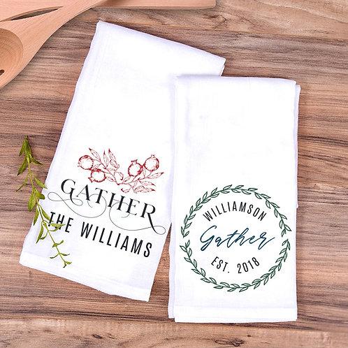 Personalized Gather Design Set of 2 Hang Loop Tea Towels