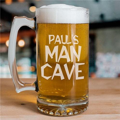 Man Cave Personalized Sports Glass Mug