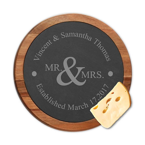 Mr. & Mrs. Couples Personalized Slate Cheeseboard w/ Acacia Wooden Border
