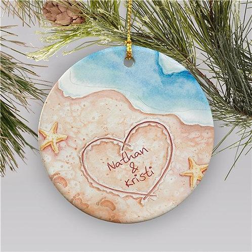 Couples Beach Christmas Ornament