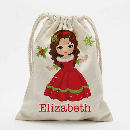 Winter Princess Personalized Christmas Drawstring Sack for Kids | Personalized S