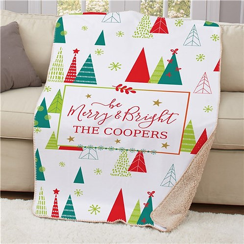 Personalized Be Merry & Bright Sherpa Blanket