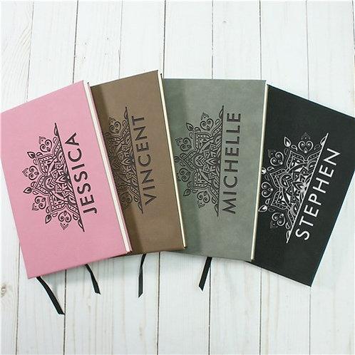 Personalized Half Mandala Leather Journal