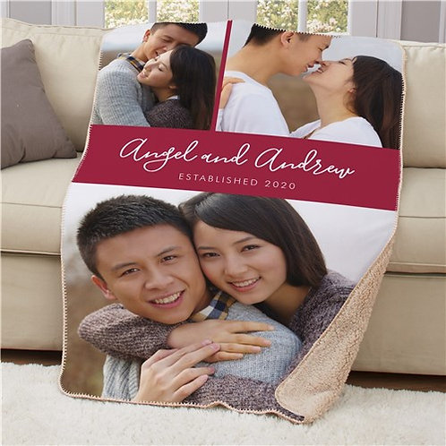 Personalized Couples Established Photo Sherpa Blanket