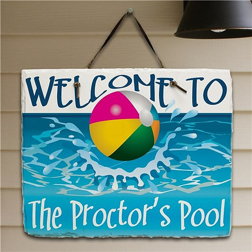 Personalized Beach Ball Welcome Slate Plaque