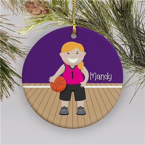 Personalized Girl Basketball Christmas Ornament | Ceramic