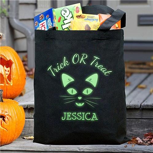 Glow In The Dark Trick Or Treat Cat Face Halloween Bag