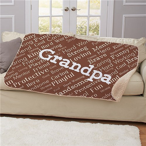 Personalized Dad Word Art Sherpa Blanket