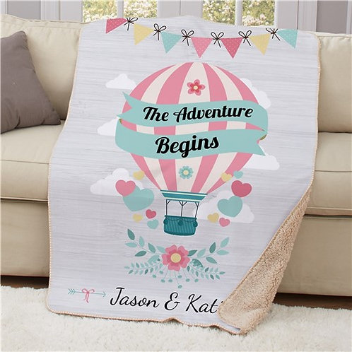 Personalized The Adventure Begins Sherpa Blanket
