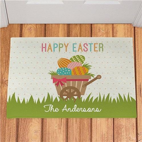 Personalized Happy Easter Wheelbarrow Doormat