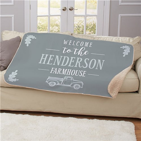 Personalized Welcome To The Farmhouse Truck Sherpa Throw
