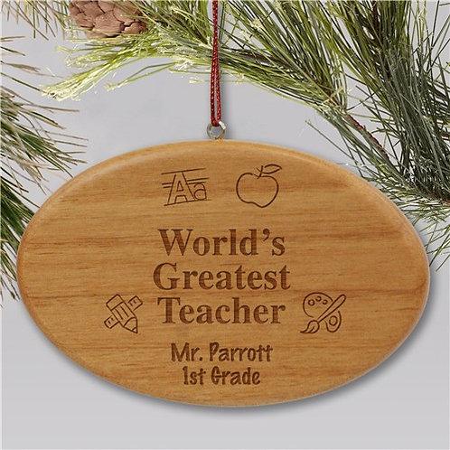 Engraved Wooden Oval Teacher Christmas Ornament