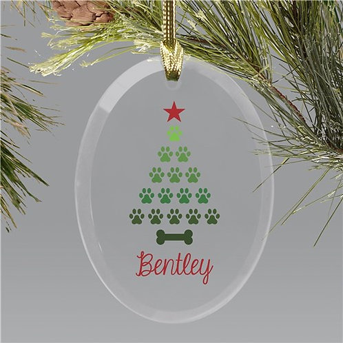 Personalized Paw Tree Glass Ornament