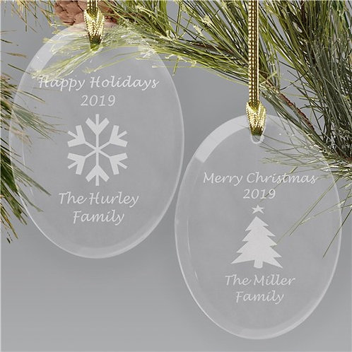 Merry Christmas Glass Ornament