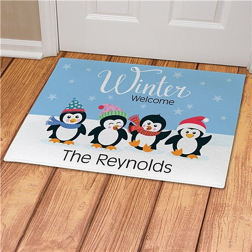 Personalized Winter Welcome With Penguins Doormat